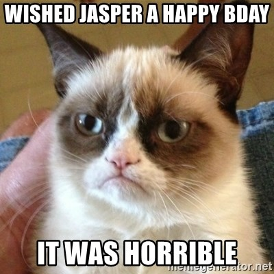 not funny cat - wished jasper a happy bday it was horrible