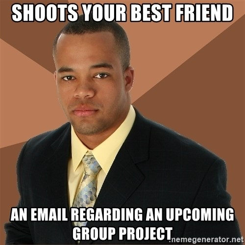 Successful Black Man - Shoots your best friend an email regarding an upcoming group project