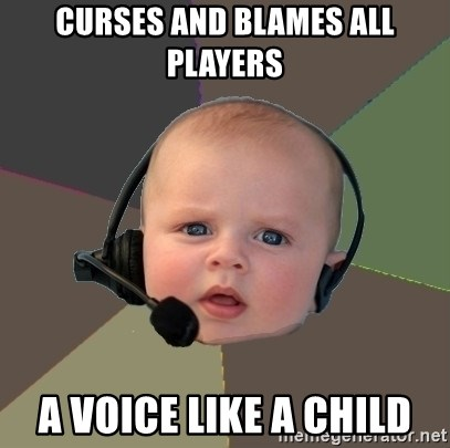 FPS N00b - curses and blames all players a voice like a child