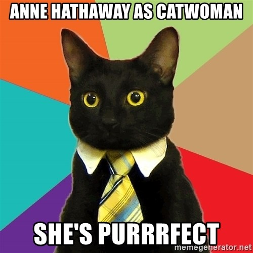 Business Cat - anne hathaway as catwoman she's purrrfect