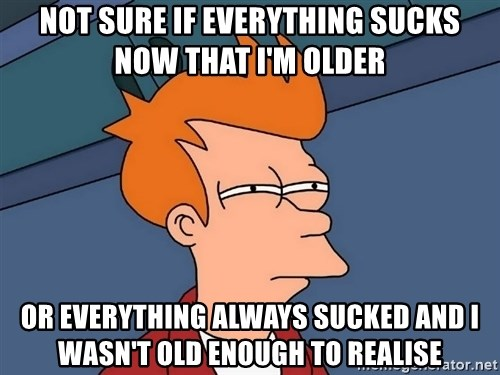 Futurama Fry - Not sure if everything sucks now that I'm older or everything always sucked and I wasn't old enough to realise