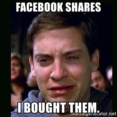 crying peter parker - FACEBOOK SHARES I bought them.