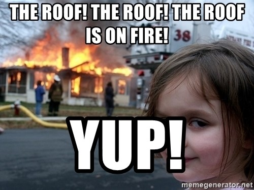 Disaster Girl - The Roof! The Roof! The Roof is on fire! Yup!