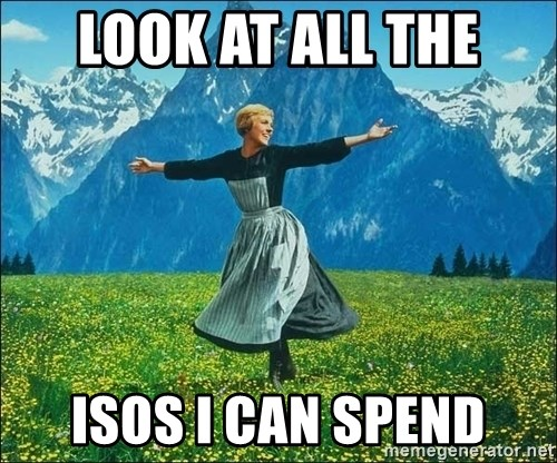 Look at all the things - look at all the isos i can spend