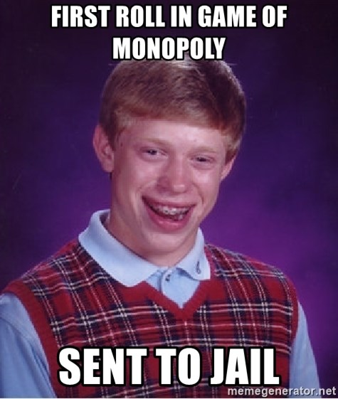 Bad Luck Brian - first roll in game of monopoly sent to jail