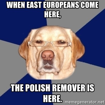 Racist Dawg - when east europeans come here, the polish remover is here.
