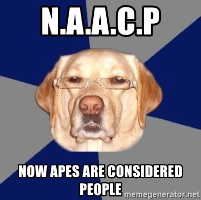 Racist Dog - n.a.a.c.p now apes are considered people