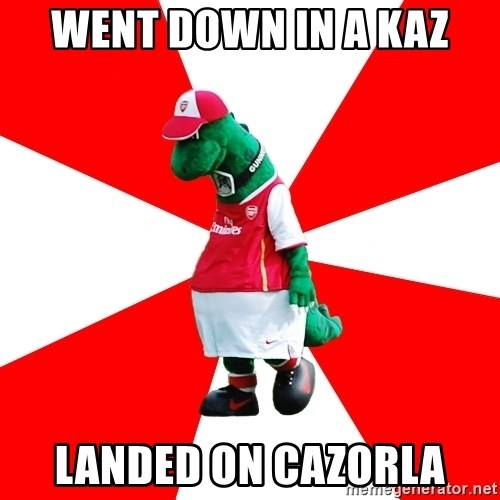 Arsenal Dinosaur - went down in a kaz landed on cazorla