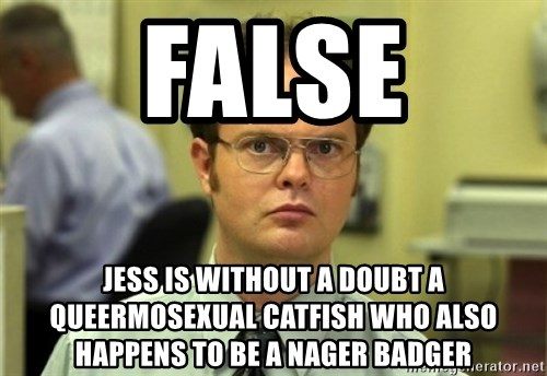 Dwight Meme - false jess is without a doubt a queermosexual catfish who also happens to be a nager badger
