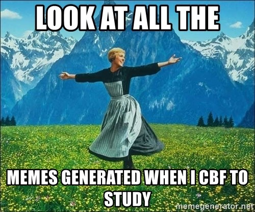 Look at all the things - LOOK AT ALL THE MEMES GENERATED WHEN I CBF TO STUDY