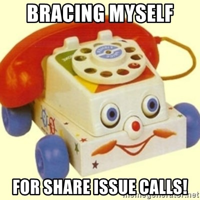 Sinister Phone - bracing myself  for share issue calls!