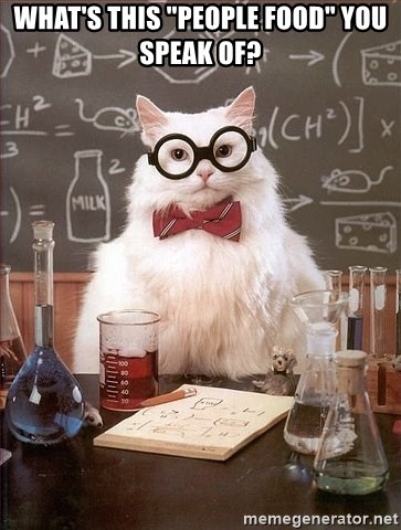 """Chemistry Cat - What's This """"people food"""" you speak of?"""