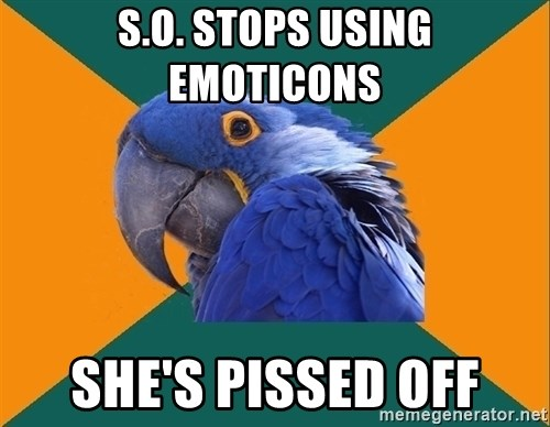 Paranoid Parrot - S.O. stops using emoticons she's pissed off