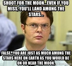 Dwight Shrute - Shoot for the moon...even if you miss, you'll land among the stars... False...you are just as much among the stars here on earth as you would be on or near the moon.