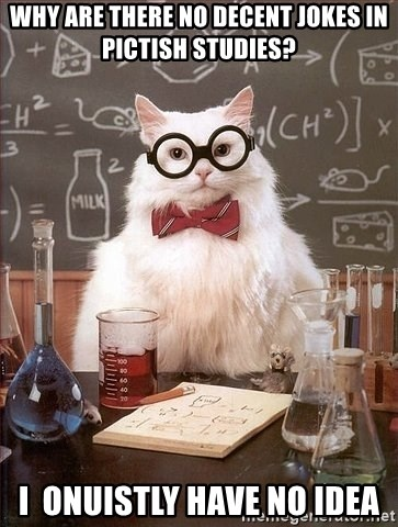 Chemistry Cat - Why are there no decent jokes in pictish studies? I  Onuistly have no idea