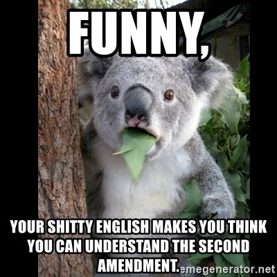 Koala can't believe it - FUNNY,  YOUR SHITTY ENGLISH MAKES YOU THINK YOU CAN UNDERSTAND THE SECOND AMENDMENT.