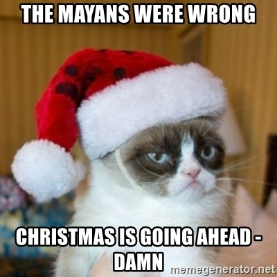 Grumpy Cat Santa Hat - THE MAYANS WERE WRONG CHRISTMAS IS GOING AHEAD - DAMN