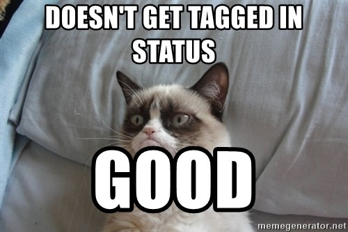 Grumpy cat good - Doesn't get tagged in status good