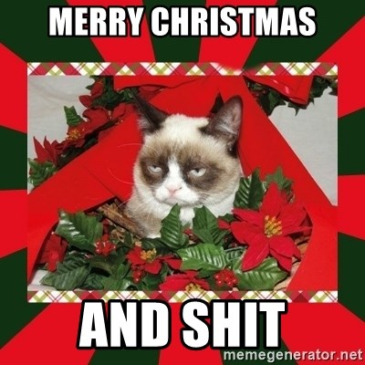 GRUMPY CAT ON CHRISTMAS - MERRY CHRISTMAS AND SHIT