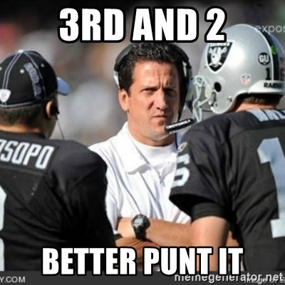 Knapped  - 3rd and 2 Better punt it