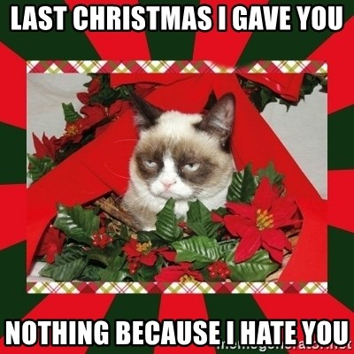 GRUMPY CAT ON CHRISTMAS - lAST CHRISTMAS I GAVE YOU nOTHING BECAUSE I HATE YOU