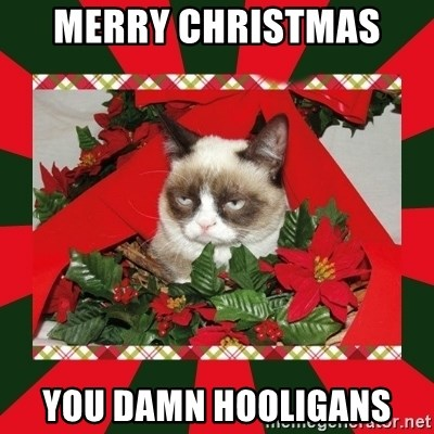 GRUMPY CAT ON CHRISTMAS - Merry Christmas  You damn hooligans
