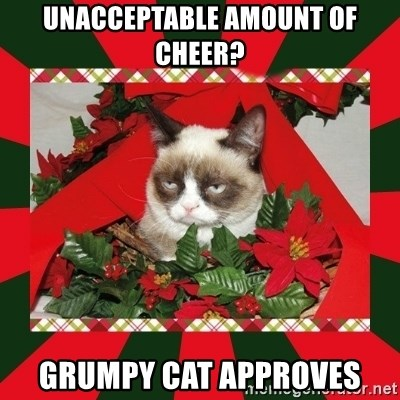 GRUMPY CAT ON CHRISTMAS - UNACCEPTABLE AMOUNT OF CHEER? Grumpy Cat Approves