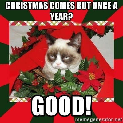 GRUMPY CAT ON CHRISTMAS - Christmas comes but once a year? Good!