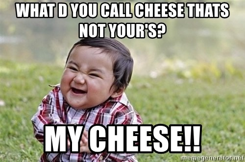 evil asian plotting baby - what d you call cheese thats not your's? my cheese!!
