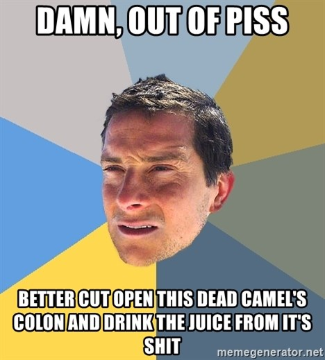 Bear Grylls - damn, out of piss better cut open this dead camel's colon and drink the juice from it's shit
