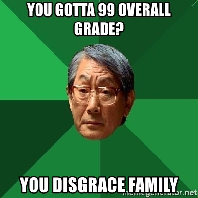 High Expectations Asian Father - you gotta 99 overall grade?  You disgrace family