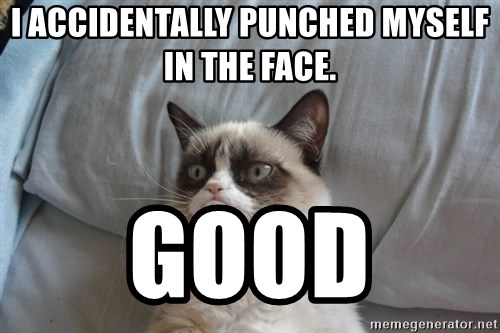 Grumpy cat good - I accidentally punched myself in the face.  Good