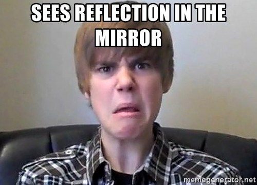 Justin Bieber 213 - SEES REFLECTION IN THE MIRROR