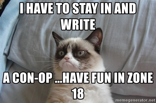 Grumpy cat good - I HAVE TO STAY IN AND WRITE  A CON-OP ...HAVE FUN IN ZONE 18