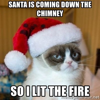 Grumpy Cat Santa Hat - Santa is coming down the chimney  So I lit the fire