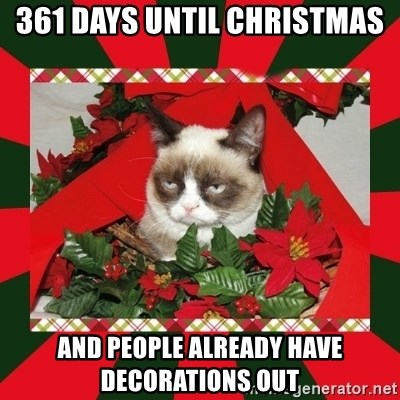 GRUMPY CAT ON CHRISTMAS - 361 days until christmas and people already have decorations out
