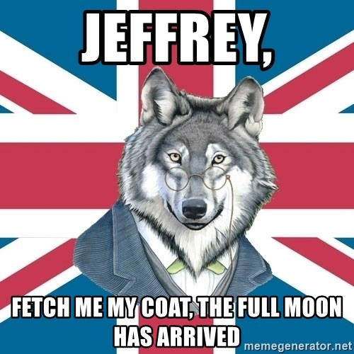 Sir Courage Wolf Esquire - jeffrey, fetch me my coat, the full moon has arrived