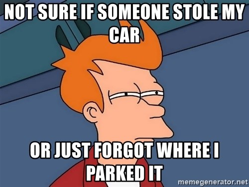 Futurama Fry - NOT SURE IF SOMEONE STOLE MY CaR OR JUST FORGOT WHERE I PaRKED IT