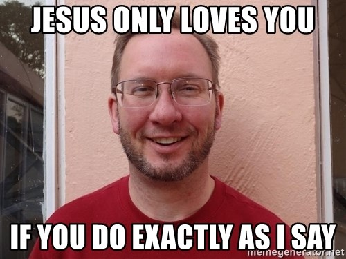 Asshole Christian missionary - jesus only loves you if you do exactly as i say