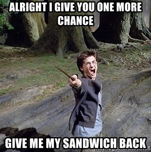 Pissed off Harry - ALRIGHT I GIVE YOU ONE MORE CHANCE GIVE ME MY SANDWICH BACK
