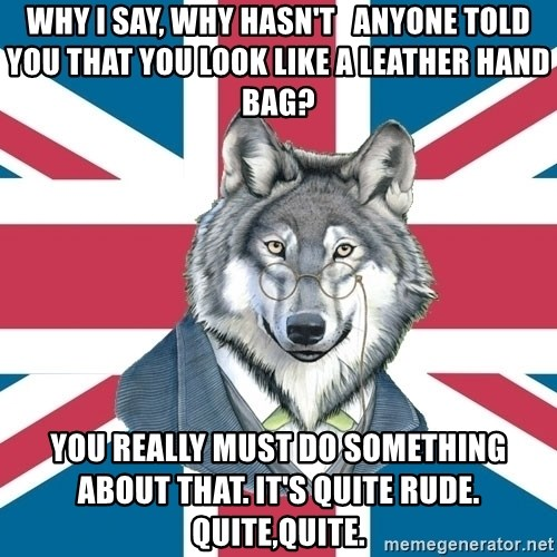 Sir Courage Wolf Esquire - Why I say, WHY HASN'T   ANYONE TOLD YOU THAT YOU LOOK LIKE A LEATHER HAND BAG? you really must do something about that. it's quite rude. quite,quite.