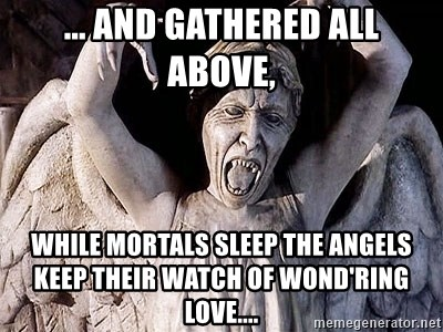 Weeping angel meme - ... and gathered all above, While mortals sleep the angels keep their watch of wond'ring love....