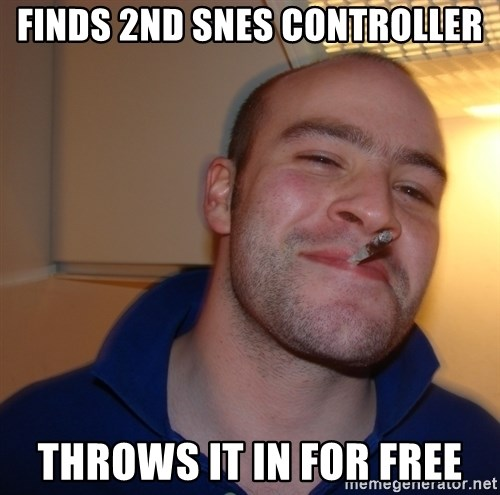 Good Guy Greg - Finds 2nd snes controller throws it in for free