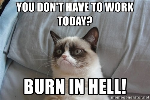 Grumpy cat good - You don't have to work today? Burn in Hell!