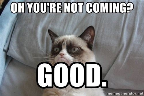 Grumpy cat good - oh you're not coming? good.