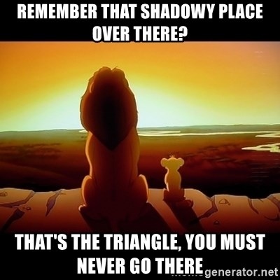 Simba - remember that Shadowy place over there? That's the triangle, You must never go there