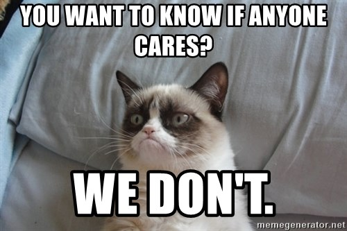Grumpy cat good - you want to know if anyone cares? we don't.