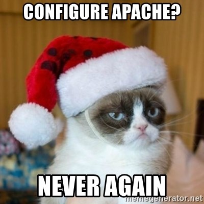Grumpy Cat Santa Hat - CONFIGURE APACHE? NEVER AGAIN