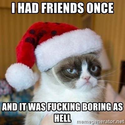 Grumpy Cat Santa Hat - I HAD FRIENDS ONCE  AND IT WAS FUCKING BORING AS HELL