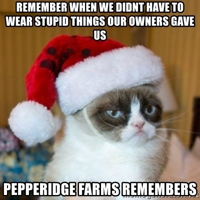 Grumpy Cat Santa Hat - Remember when we didnt have to wear stupid things our owners gave us Pepperidge Farms remembers